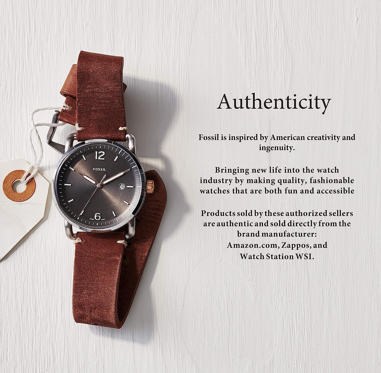 Fossil Men's Townsman Auto Automatic Leather Three-Hand Watch, Color: Black, Cognac (Model: ME3098)