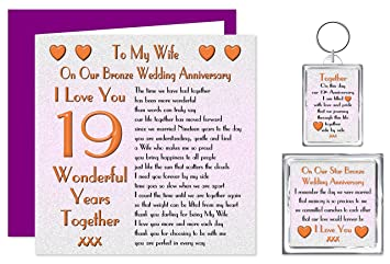 My Wife 19th Wedding Anniversary Gift Set Card Keyring Fridge Magnet Present On Our Bronze Anniversary 19 Years Sentimental Verse I Love