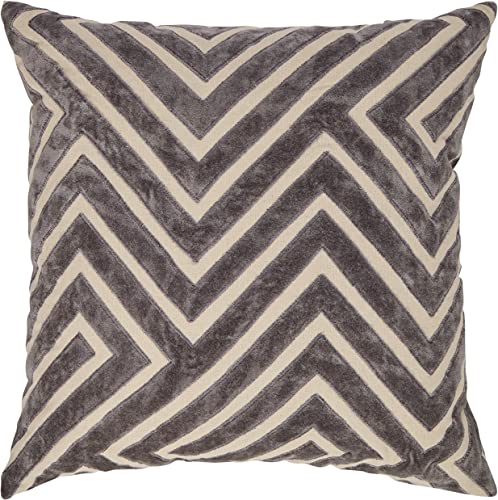 Amazon Brand Rivet Modern Velvet Stripe Throw Pillow – 18 x 18 Inch, Grey