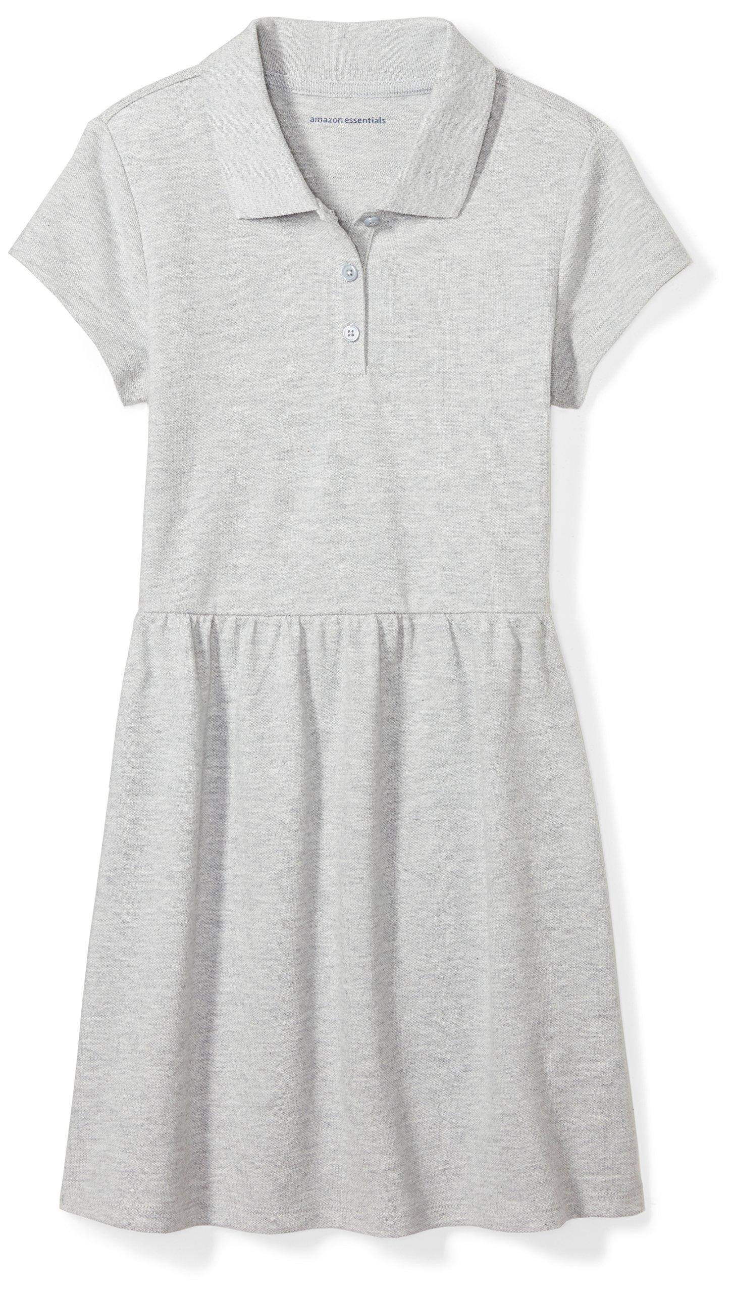Amazon Essentials Girls' Short-Sleeve Polo Dress, Gray, M (8) by Amazon Essentials (Image #1)