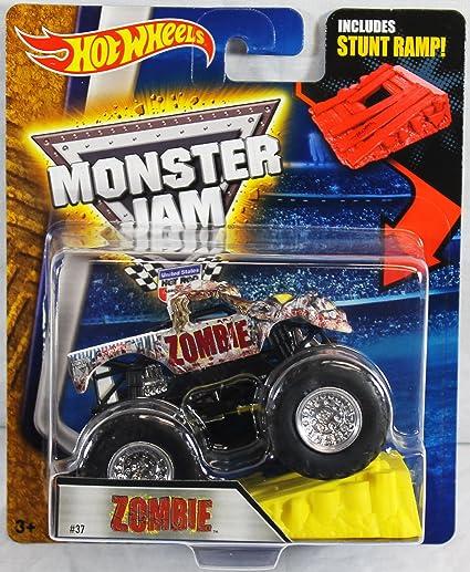 Amazon Com Hot Wheels Monster Jam Zombie 37 With Stunt Ramp 1 64 Toys Games