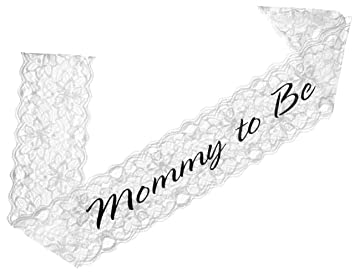 Elegant Lace Mommy To Be Sash (white)   Baby Shower Sash For The Mom