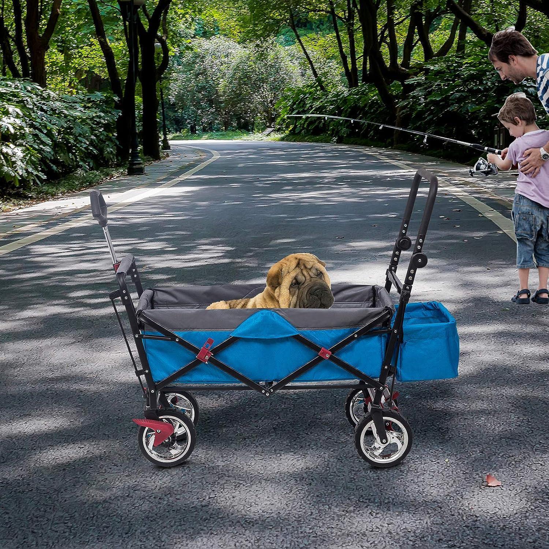HOLISTAR Faltbar Handwagen Klappbar Bollerwagen Transportwagen Kinder Wagen mit Hecktasche f/ür Garten Camping Einkaufen Blau