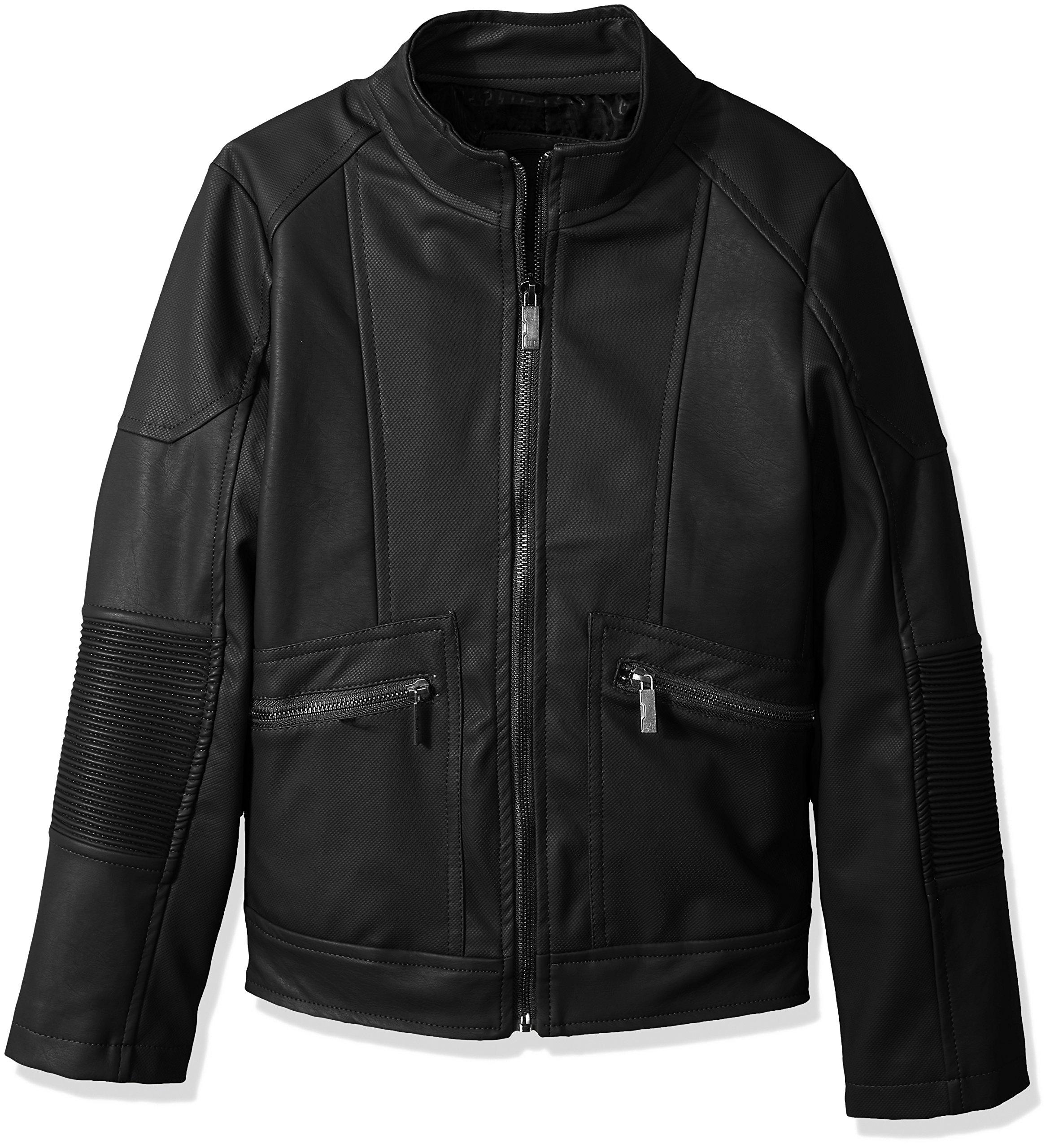 Urban Republic Big Boys' Texture Faux Leather Moto Jacket, Black, 10/12 by Urban Republic