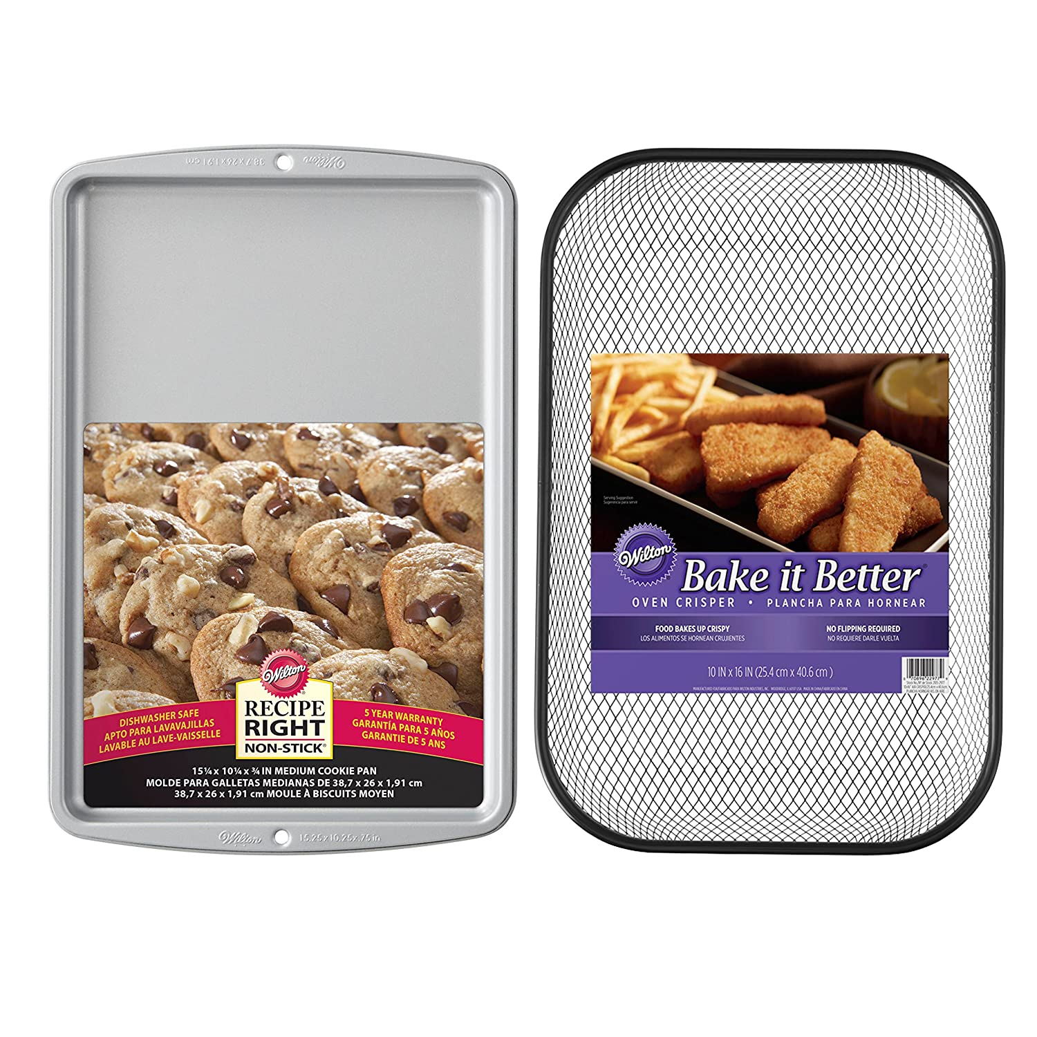 Amazon.com: Wilton Bake It Better Non-Stick Oven Crisper Basket and Non-Stick Baking Sheet Set, 2-Piece Oven Air Fryer Set: Kitchen & Dining