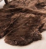 Genuine Australian Sheepskin Rug Four Pelt Brown