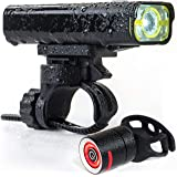 The Original LED Bicycle Rechargeable Light Set | 800 Lumens a Brighter Bike Light | Wide & Long Cover Range - 85° & 650ft | IPX6 Waterproof | Plus Upgraded Rechargeable Tail Light | Bike Lights