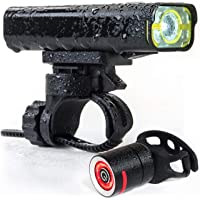 The Original LED Bicycle Rechargeable Light Set | 800 Lumens for a Brighter Bike Light | Wide & Long Cover Range - 85° & 650ft | IPX6 Waterproof | Plus Upgraded Rechargeable Tail Light | Bike Lights