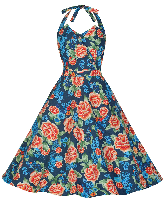 Lindy Bop 'Myrtle' Classy Vintage 1950's Halter Neck Miami Floral Swing Party Dress