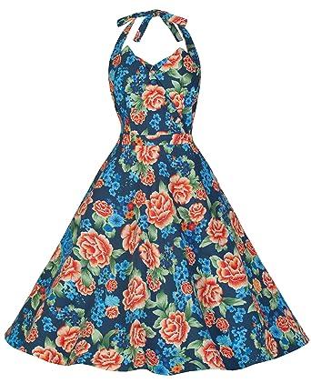 71149223c6ce Lindy Bop  Myrtle  Classy Vintage 1950 s Halter Neck Miami Floral Swing  Party Dress (