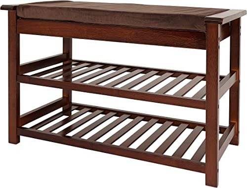UNICOO – Bamboo Shoe Bench Rack with Cushion Upholstered Padded Seat 2-Tier Shoe Rack Entryway Shoe Bench- Brown – 76