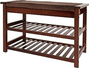 Charmant UNICOO   Antique Style Bamboo Shoe Bench Rack Cushion Upholstered Padded  Seat Storage Shelf Bench,