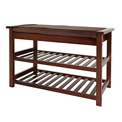 UNICOO - Antique Style Bamboo Shoe Bench Rack with Cushion Upholstered  Padded Seat Storage Shelf Bench - Amazon.com: UNICOO - Antique Style Bamboo Shoe Bench Rack With