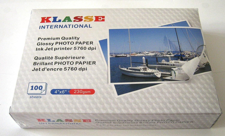 4 x 6 Premium Quality Glossy Photo Paper 230gsm 100 Sheets KLASSE International
