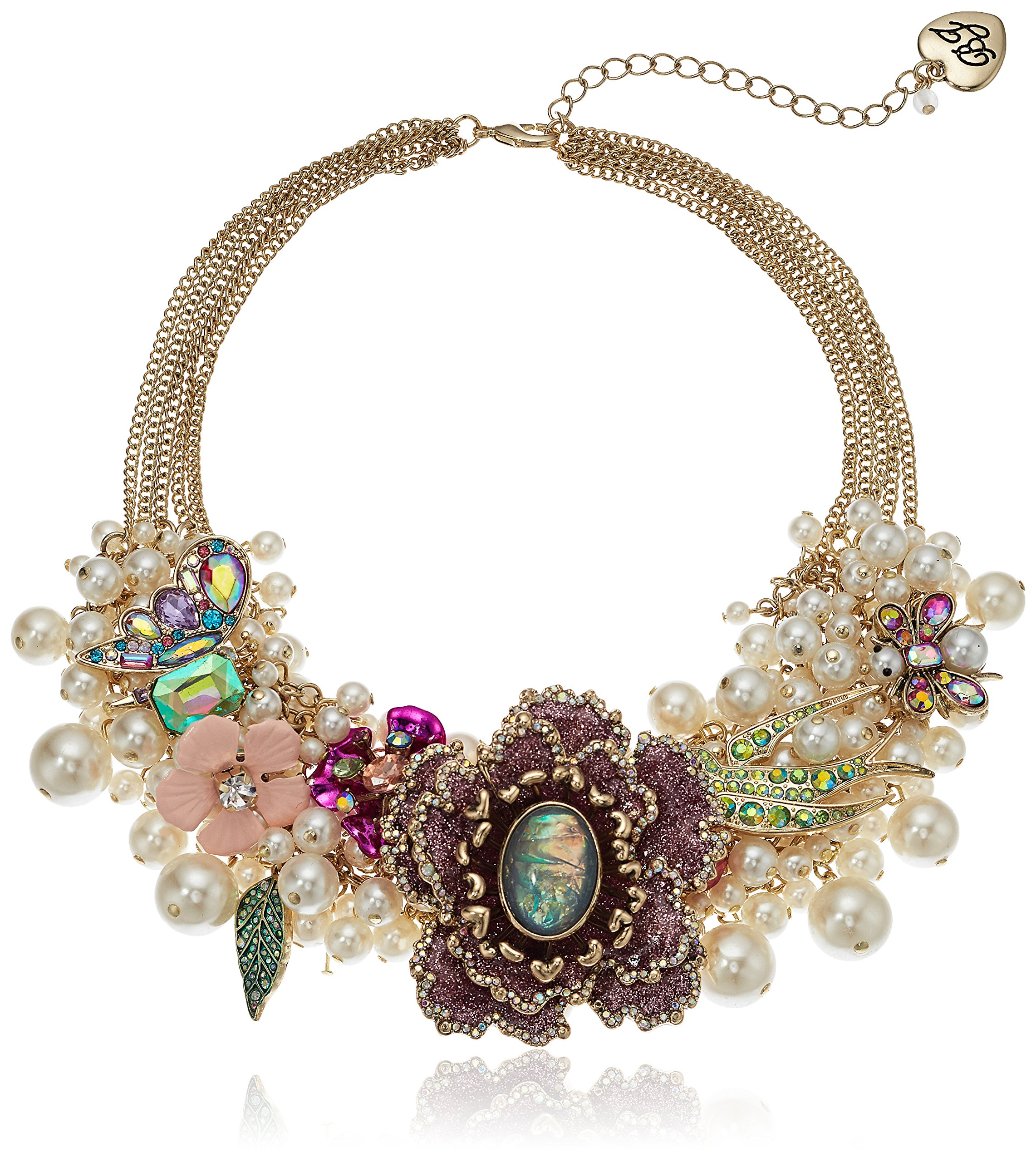 Betsey Johnson Womens Blooming Betsey Pink Glitter Flower and Pearl Frontal Statement Necklace, Multi, One Size
