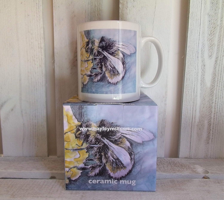White Nature Blue Yellow Bee Gift Bumble Bee Mug