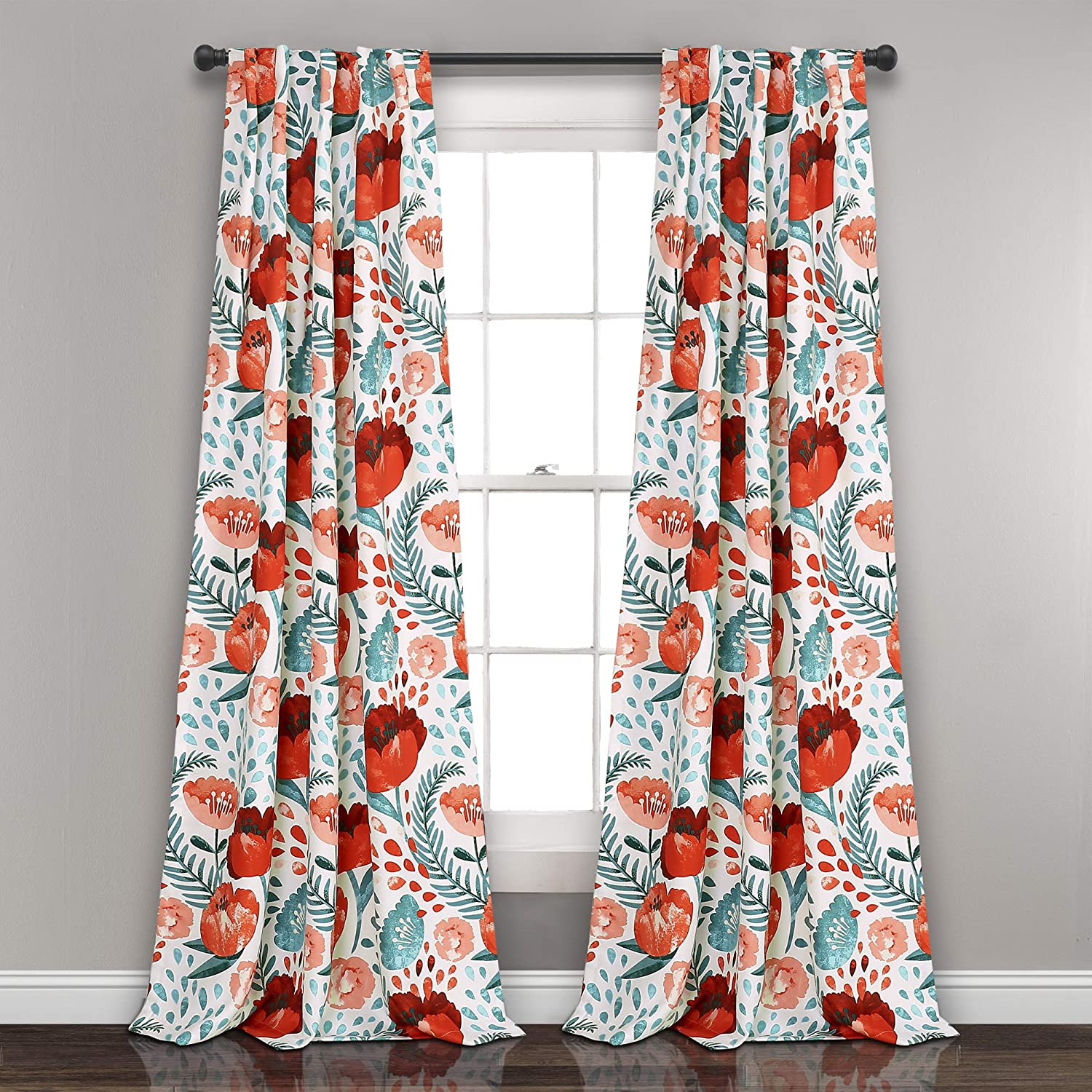 "Lush Decor Pair, 95"" x 52"", Multi Poppy Garden Curtains Room Darkening Window Panel Set for Living, Dining, Bedroom, 95"" L"