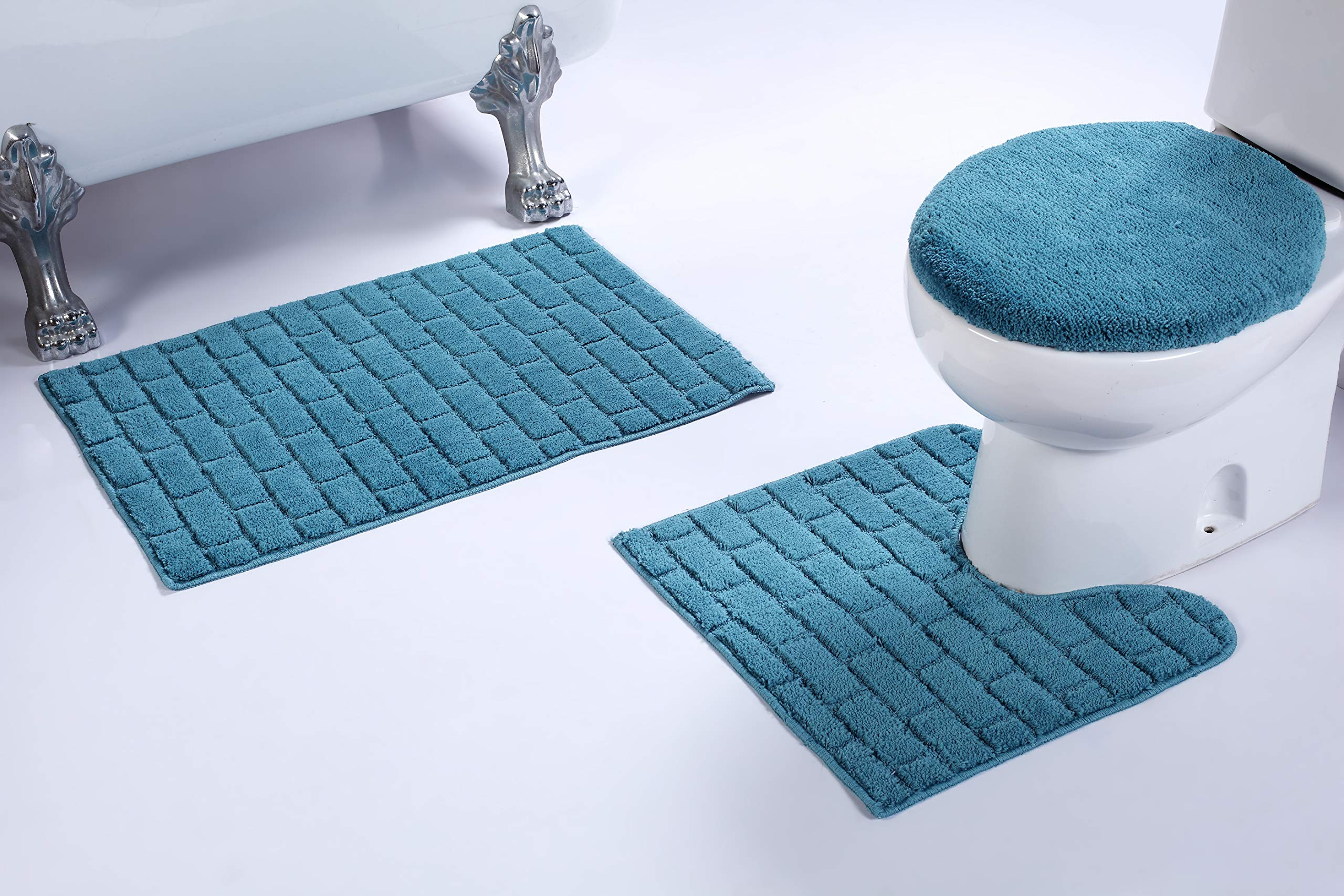 Fancy Linen 3pc Non-Slip Bath Mat Set with Brick Pattern Solid Turquoise Bathroom U-Shaped Contour Rug, Mat and Toilet Lid Cover New # Bath 67
