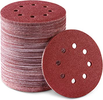125mm Sander Paper Hook and Loop 100 Pack Velcro Sanding Discs 40-800 Grits 8 Holes Round Grinding Paper Pack Sandpaper Assorted for Random Orbit Sander