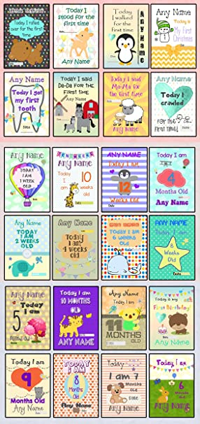 Baby Milestone Cards - Set of 30 PERSONALISED Baby Boy or