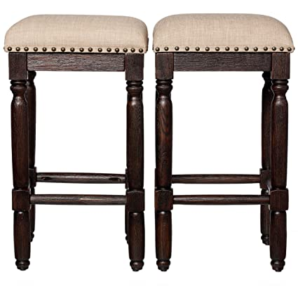 Rustic Style Vintage 26 Inch Wooden Backless Counter Height Bar Stools With Foam Cushions Coffee Finish Set Of 2 Includes Modhaus Living Pen