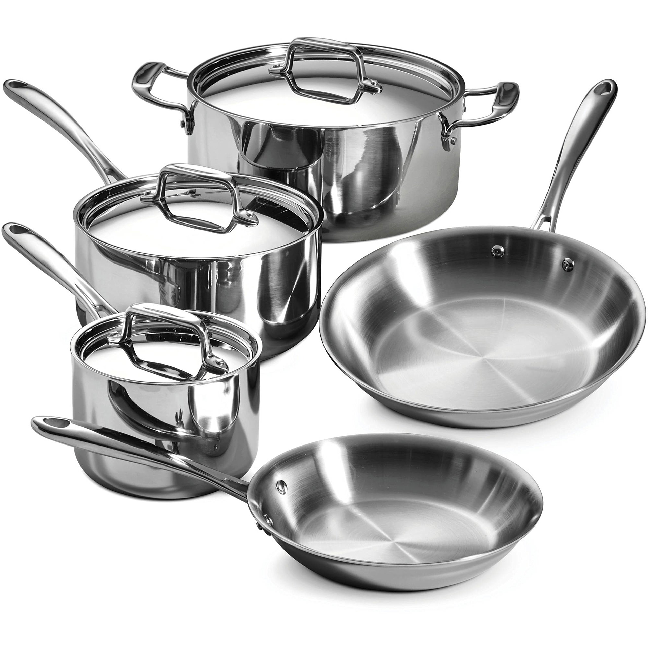 8-Piece Premium 18/10 Stainless Steel Tri-Ply Clad Cookware Set