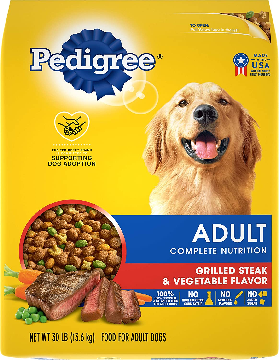 PEDIGREE Complete Nutrition Adult Dry Dog Food Grilled Steak & Vegetable Flavor Dog Kibble, 30 lb. Bag
