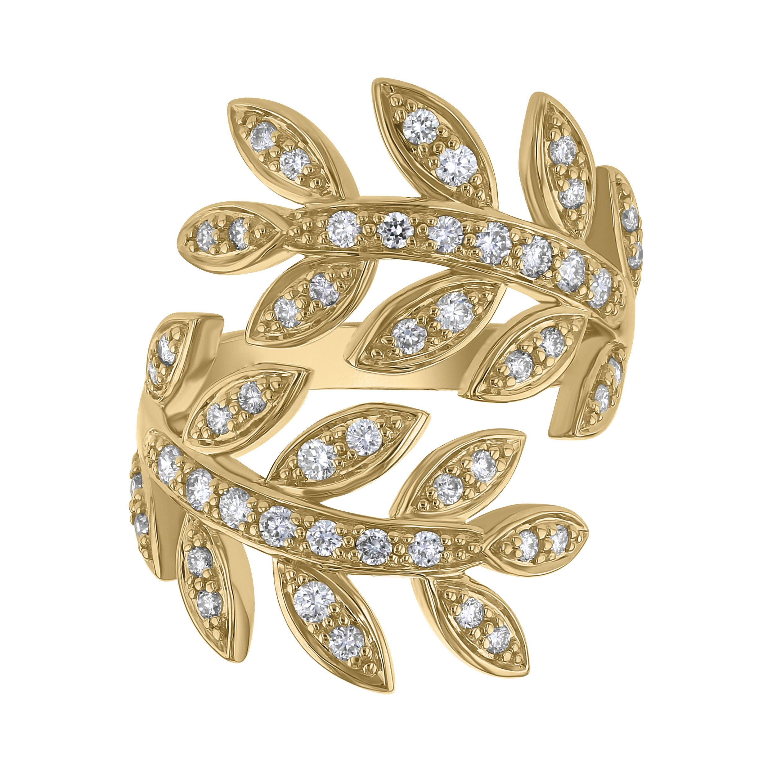 14k Yellow Gold Diamond Leaf Bypass Ring (0.65 cttw, I1 ClarIty, H-I Color)