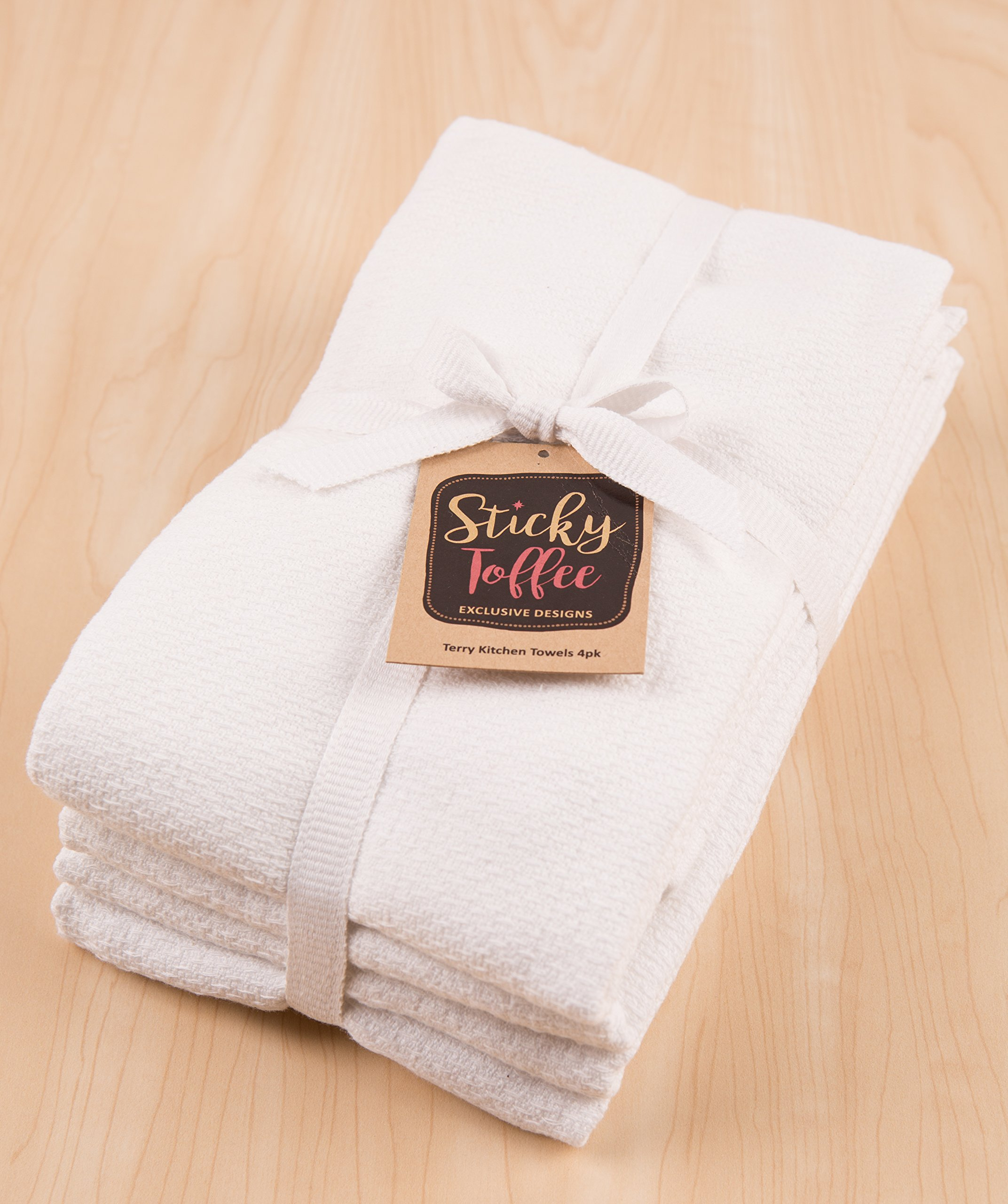 Sticky Toffee Cotton Terry Kitchen Dish Towel, 4 Pack, White, 28 in x 14 in by Sticky Toffee (Image #7)