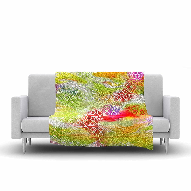 60 by 50-Inch 60 X 50 Kess InHouse Dan Sekanwagi Locked Rams Horns Rainbow Abstract Fleece Throw Blanket
