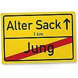 DankeDir! Alter Sack (Jung) Ortsschild, lustiges PVC Schild, Geschenk - Runder Geburtstag/Jubiläum - Geschenkidee Geburtstagsgeschenk Männer, Jungs - Wanddeko, Party Deko