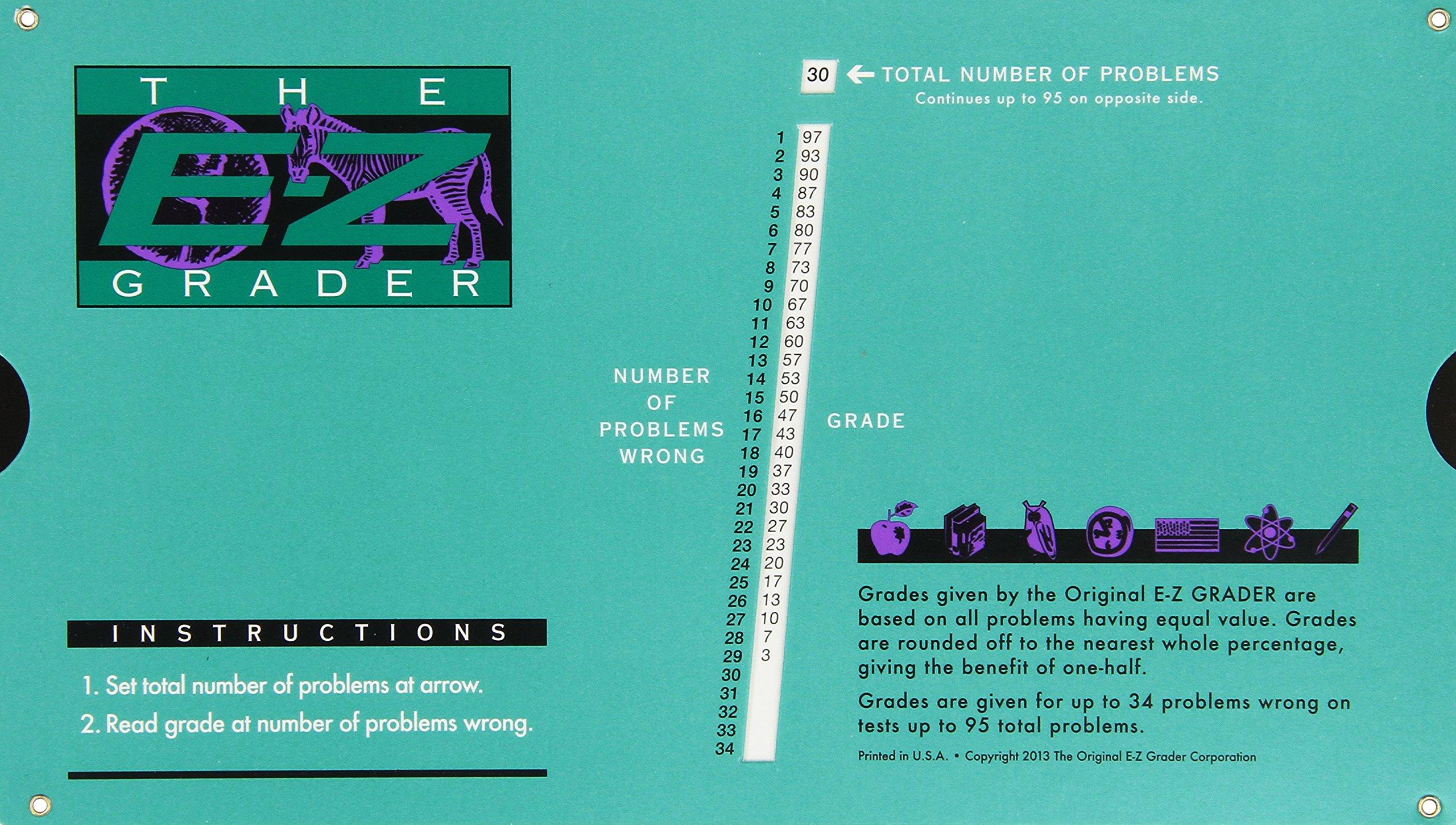 Grading Calculator - E-Z Grader Teacher's Aid Scoring Chart (Original) - 8-1/2'' x 4-3/4''