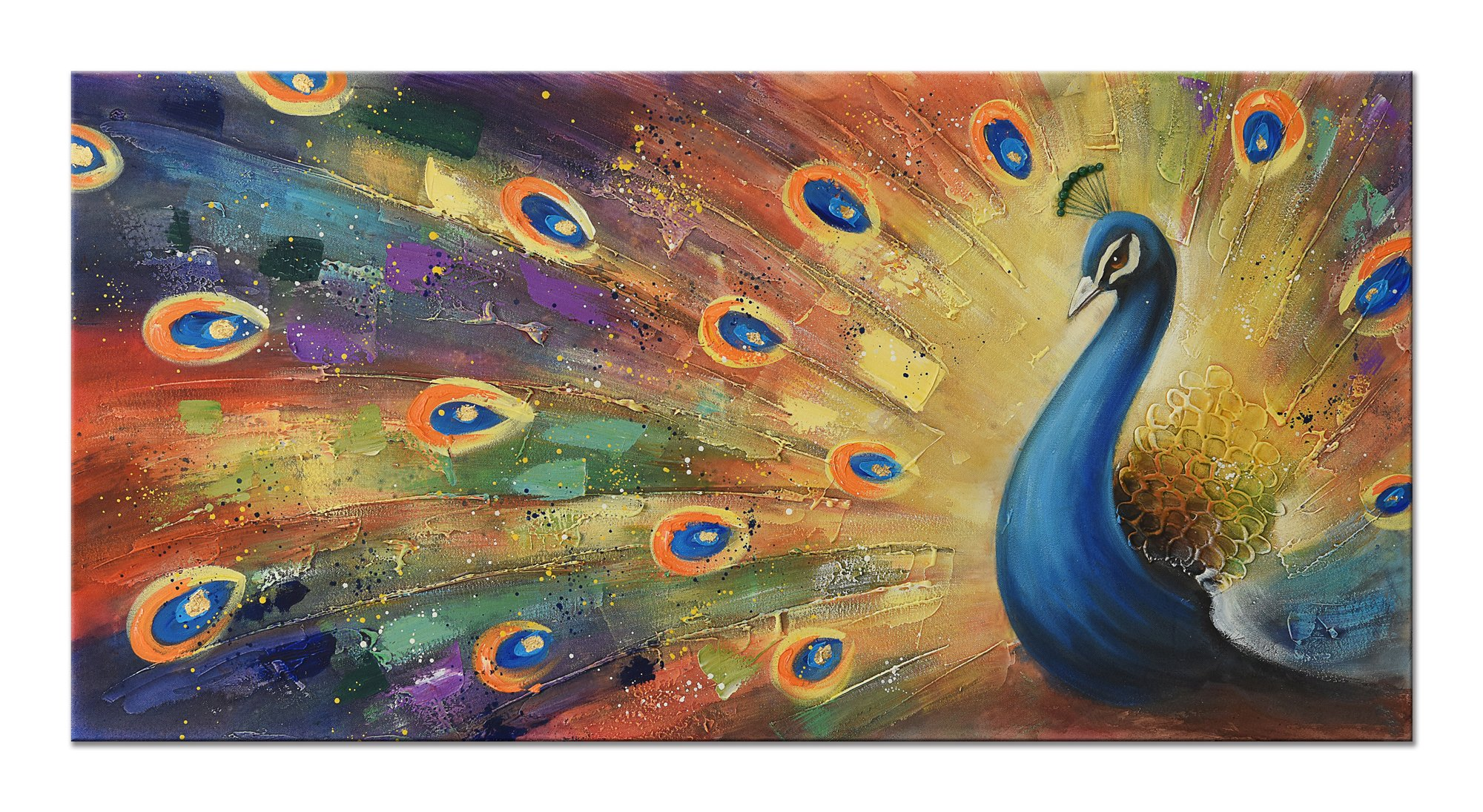 UAC WALL ARTS 100% Hand-Painted 3D Painting on Canvas Colorful Peacock Oil Painting Modern Animal Home Sitting Room Decor Canvas Wall Art Ready to Hang