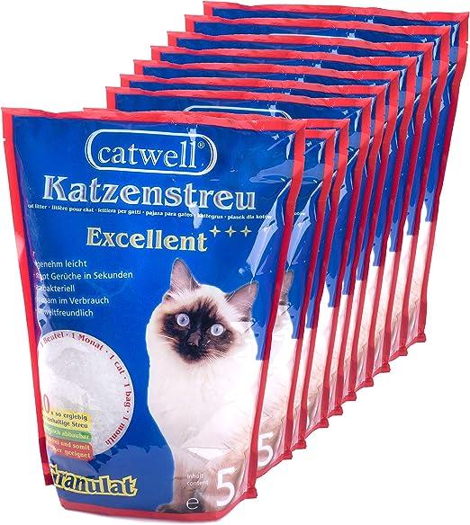 CATWELL, Arena de silice para gatos, 10x5L, granulado, 100 ...