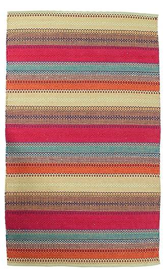 Teppich bunt gestreift  Handgewebter Teppich, Baumwolle, bunt gestreift - Größe 120 x 180 ...