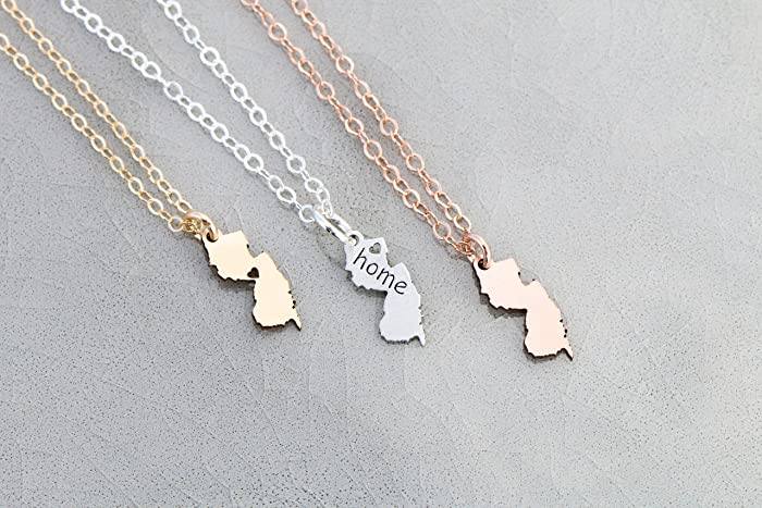 Amazon new jersey state necklace ibd personalize with name new jersey state necklace ibd personalize with name or coordinates choose chain length aloadofball Images