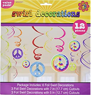 Amscan Groovy 60's Party Peace Sign Swirl Decorations Value Pack (12  Piece), Multi