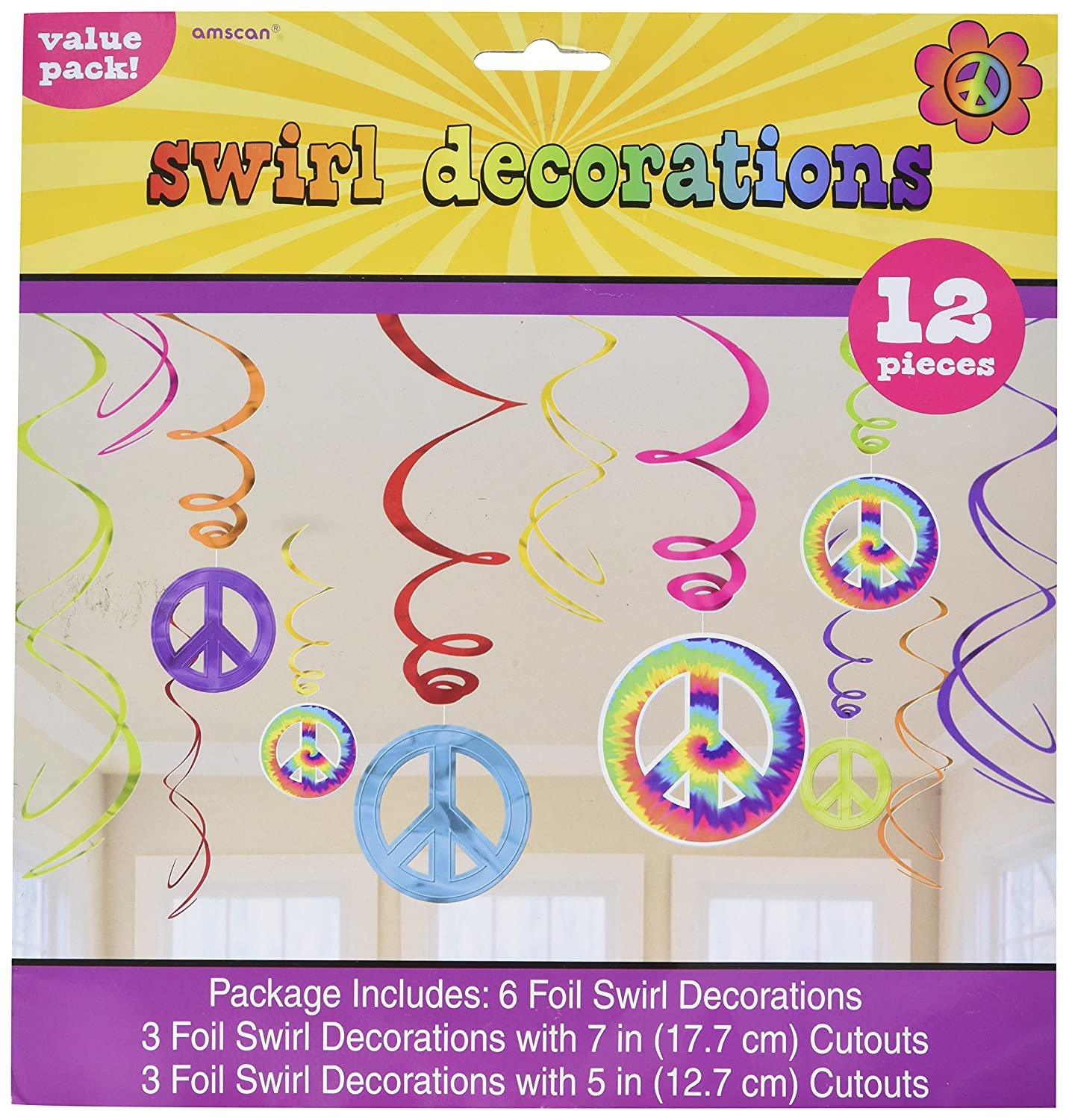 amscan 670151 Party 60s Groovy String Decorations 2.1m 7 Multi Color