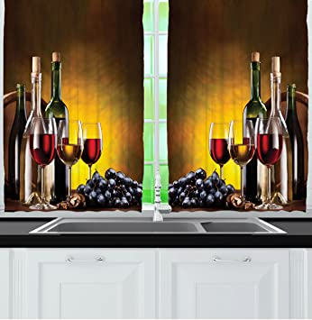 Ambesonne Tuscany Wine Land Decor Collection Grapes Wines Bottles Glasses Picture Printed Artwork Window
