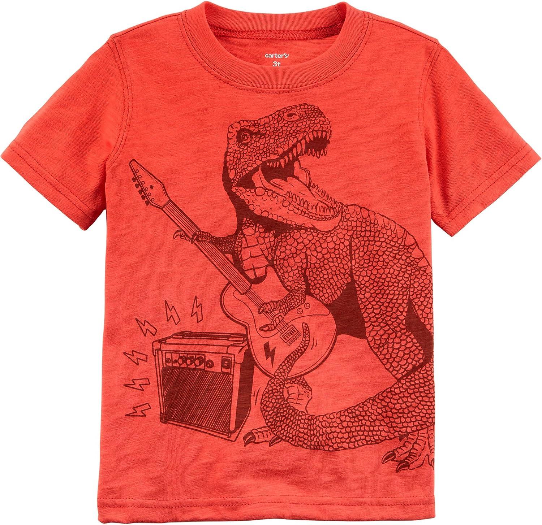 Carters Boys 2T-8 Short Sleeve Shark Tee 3T, Orange//Dino