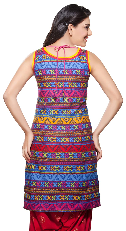 34055c189a8 In-Sattva Womens Indian Ethnic Kurta Tunic Multi Print at Amazon Women's  Clothing store: