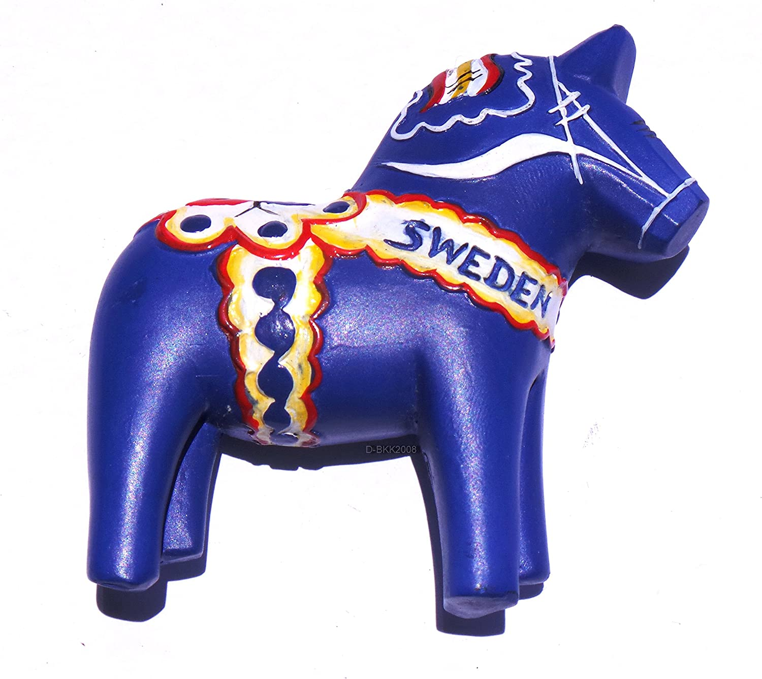 Blue Swedish Dala Horse Sweden Resin 3D fridge Refrigerator Thai Magnet Hand Made Craft.