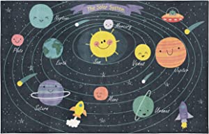 Mohawk Home Prismatic Solar Planet System Printed Contemporary Kids Area Rug, 5'x8', Navy