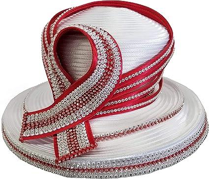 1fe08658acf Fancy Designer Church Wedding Kentucky Derby Funeral Satin Ribbon Women s  Hat (White Red)