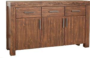 Modus Furniture 3F4173 Meadow Three Drawer Three Door Solid Wood Sideboard, Brick