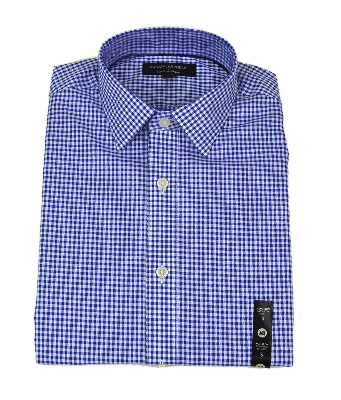 28413b8a0 Top1: Banana Republic Mens Slim-Fit Non-Iron Blue Mini Gingham Shirt