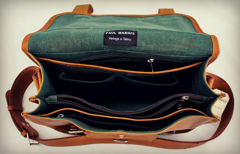 Retro Sac cuir bandouli/ère sign/é Collection Paul Marius Cartable Cuir Vintage