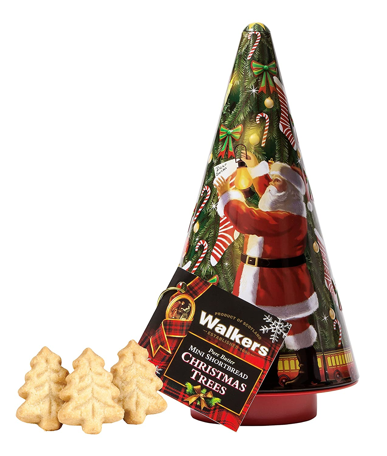 Amazon.com: Walkers Shortbread Christmas Tree Santa Cookie Tin, 4.4 ...