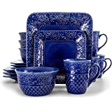 Elama Contemporary Square Embossed Stoneware Dinnerware Dish Set, 16 Piece, Indigo Blue