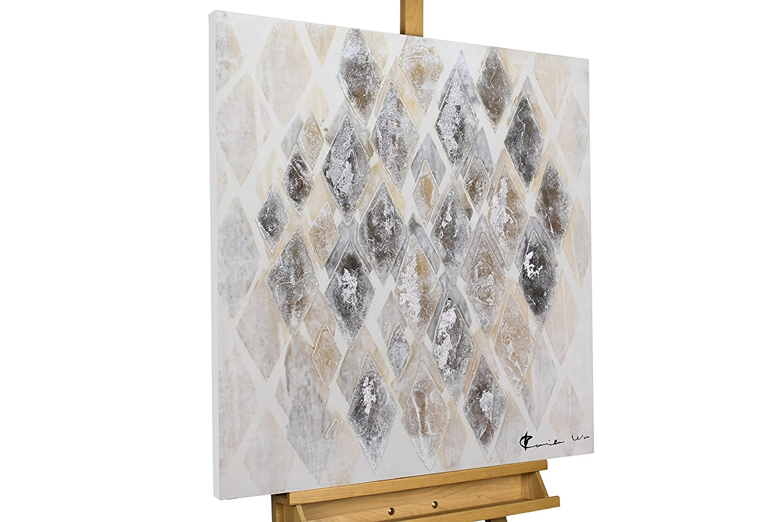 KunstLoft® Acryl Gemälde & 039;Entzerrtes Mosaik& 039; 80x80cm   original handgemalte Leinwand Bilder XXL   Mosaik Raute Bunt   Wandbild Acryl bild moderne Kunst einteilig mit Rahmen